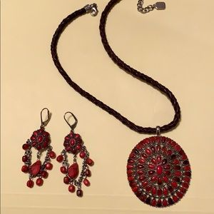 necklace with pendant and earring to match